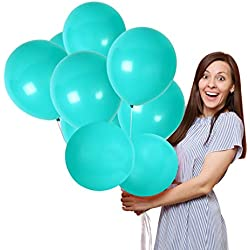 Aqua Teal Turquoise 12 Inch Solid Latex Balloons Mermaid Baby Shower Decorations Birthday Party Games Pastel Sea Blue Home Decor Assorted Supplies 36 Pack Mint Wedding