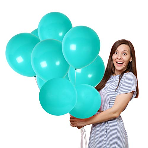 Treasures Gifted Pack of 36 Solid Turquoise 12 Inch Latex Balloons Mermaid Baby Shower Decorations Birthday Party Games Pastel Blue Home Decor Assorted Supplies for Wedding