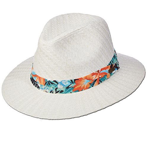Panama Jack Tropical Ribbon Matte Toyo Straw Safari Sun Hat, 2 3/4