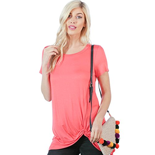 Preppy Doll Made in USA Women's Solid and Tie Dye Casual Soft Short Sleeve Side Knot Twist Knit Blouse Top (Large, Coral) - Made Coral