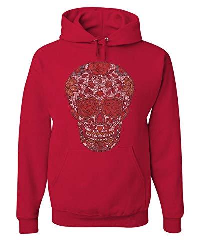 (Rhinestone Sugar Skull Hoodie Day of The Dead Calavera Mexico Sweatshirt Red L)