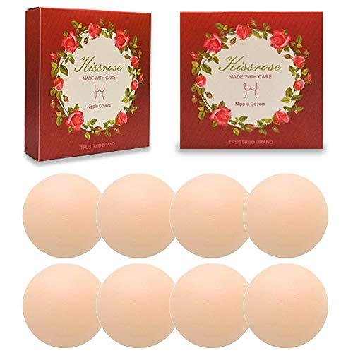 Nippleless Covers, 4/8 Pairs Reusable Silicone Adhesive Invisible Breast Pasties (4 Round)