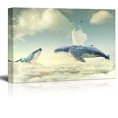 Fantasy Series Girl and Flying Whales above the Clouds Gallery