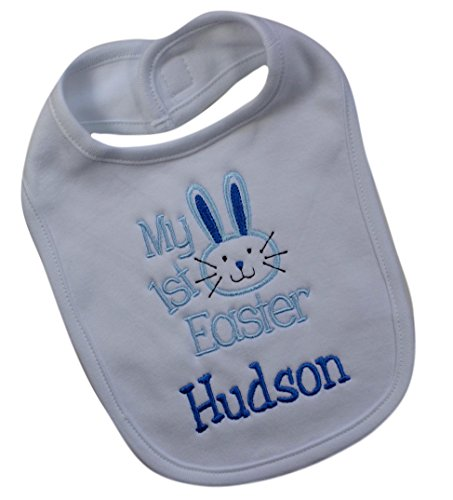 - My First Easter Handmade PERSONALIZED Embroidered Easter Bunny Bib for Baby BOYS