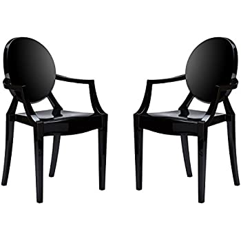 Poly And Bark EM 103 BLK X2 Ghost Style Dining Armchair, Black, Set Of 2