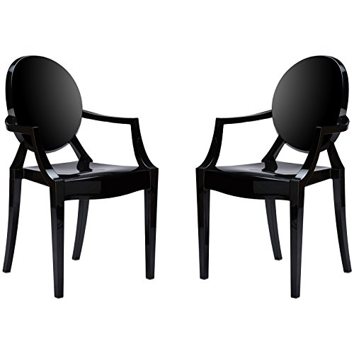 Poly and Bark EM-103-BLK-X2 Ghost Style Dining Armchair, Black, Set of 2
