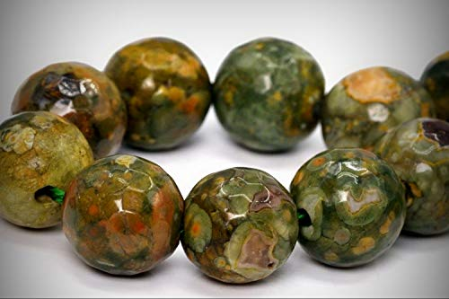 Approx.15 Beads Lot - 12mm Rainforest Rhyolite Rhyolite Beads AA Micro Feacted Round Loose Jewelry Making Beads 7