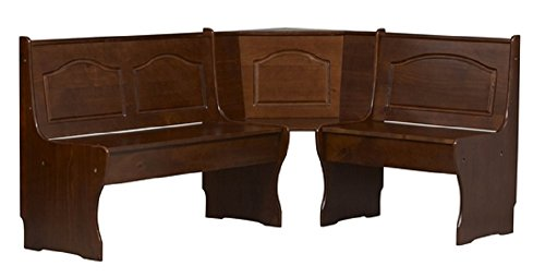 Chelsea Solid Wood Kitchen Corner Bench - Walnut Finish - Linon Solid Wood