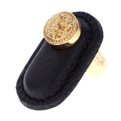 Polished Gold Large Vicenza Designs K1167 San Michele Knob with Black Leather Strap