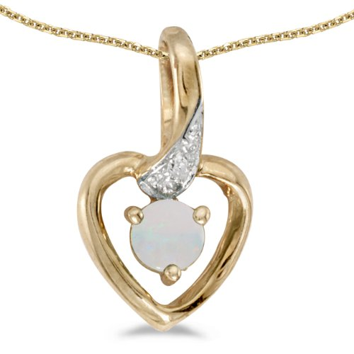 (14k Yellow Gold Round Opal And Diamond Heart Pendant with 18
