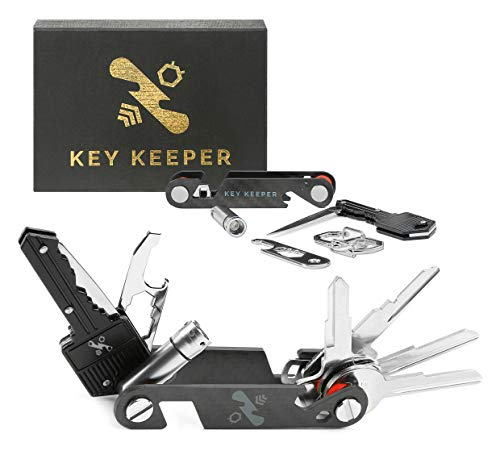 The Original Key Keeper Compact Key Organizer - Made of Carbon Fiber & Stainless Steel - LED Flashlight Key Knife Screwdriver Wrench Bottle Opener Keychain Carabiner Smart Phone Holder Holds 14 Keys