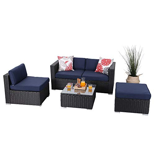 Villa Set - PHI VILLA 5-Piece Patio Furniture Set Rattan Sectional Sofa with Ottoman, Blue
