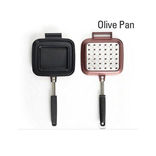Olive Pan 14.8x6.5x1.7Inch Specialty Nonstick Omelette Pan, Sandwich Press, Steak Pan, Deep Pan, Fry Pan, Dishwasher Safe (Hana Countertop)