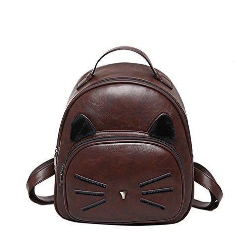 Nueva moda mujer mochila alta calidad PU cuero mochila Gato lindo de la escuela de hombro bolsos para chicas adolescentes Mini bolso de la mujer Sac Black