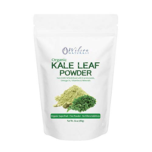 Wilson Naturals Organic Kale Powder Superfood (Non-GMO) - Natural Carotenoids, Omega-3s & No Additives/Fillers - Pure Kale Vegetable Extract for Shakes and Smoothies 454 grams (227 Servings)