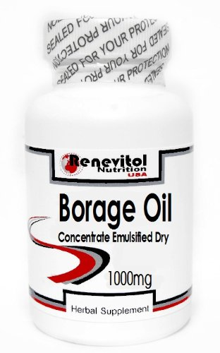 Borage Oil Concentrate (Emulsified Dry) 1000mg 200 Capsules ~ Renevitol by Renevitol