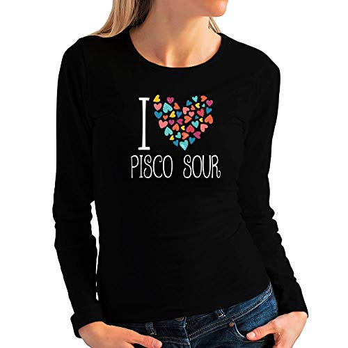 (Idakoos I Love Pisco Sour Colorful Hearts Women Long Sleeve T-Shirt L Black)