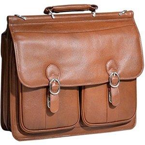 - Double Compartment Laptop Case, Leather, Small, Brown - Hazel Crest | McKlein - 15604
