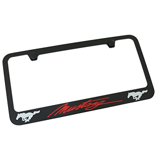 Elite Automotive Products Inc.Black ScriptLicense Plate Frame Dual Logo for Ford Mustang Red