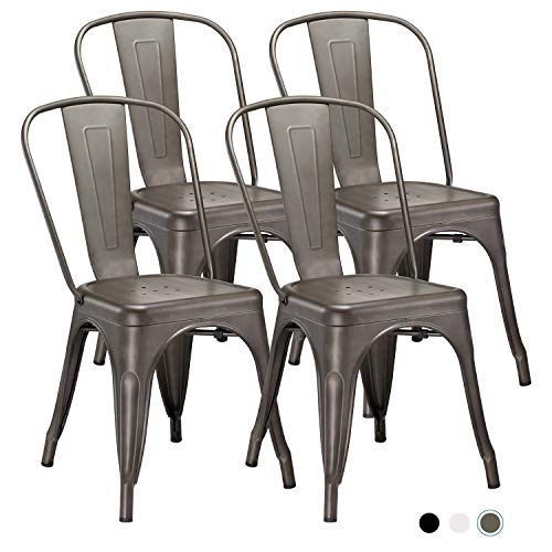 Metal Indoor-Outdoor Dining Chairs Stackable Chic Industrial Side Chairs Design Stools with Back Use for Kitchen Bistro Cafe Set of 4 Gun Metal