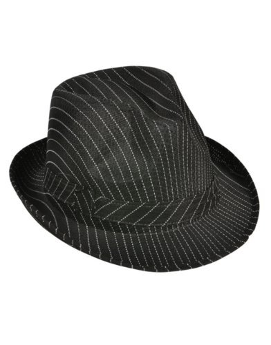 (Rhode Island Novelty Roaring 20s Gangster Costume Black Pin Stripe Fedora Hat)