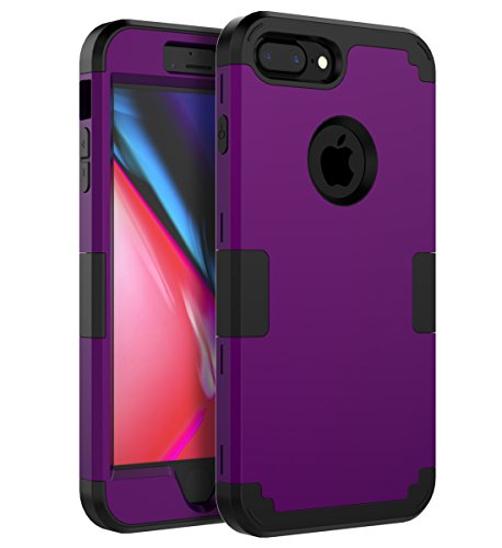 TOPSKY iPhone 7 Plus Case,iPhone 8 Plus Case Three Layer Shockproof Heavy Duty High Impact Resistant Hybrid Protective Cover Case for Apple iPhone 7Plus/8Plus 5.5 inch,Purple Black