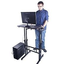 Delicol height adjustable Ergonomic standing desk computer workstation (Black Walnut) by Delicol