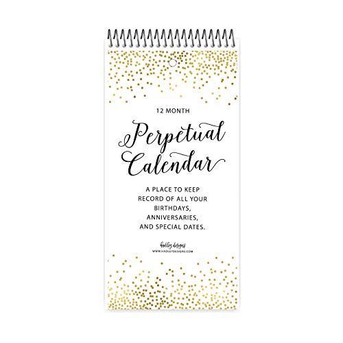 Gold Perpetual Birthday, Anniversary, Special Event Reminder Calendar Book Journal for Important Family Date Day Remembrance Wall Hanging, Mom Dutch Happy Bday Birthdate Gift Card Planner Organizer