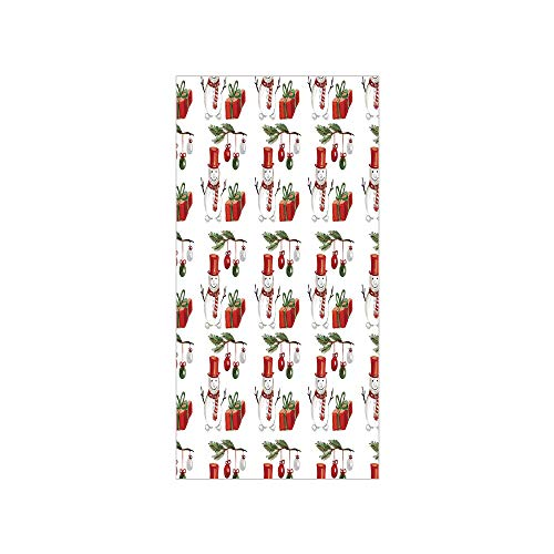 3D Decorative Film Privacy Window Film No Glue,Christmas,Watercolor Style Holly Jolly Xmas Motif with Snowmnan and Gift Boxes Art Picture,Red White,for Home&Office