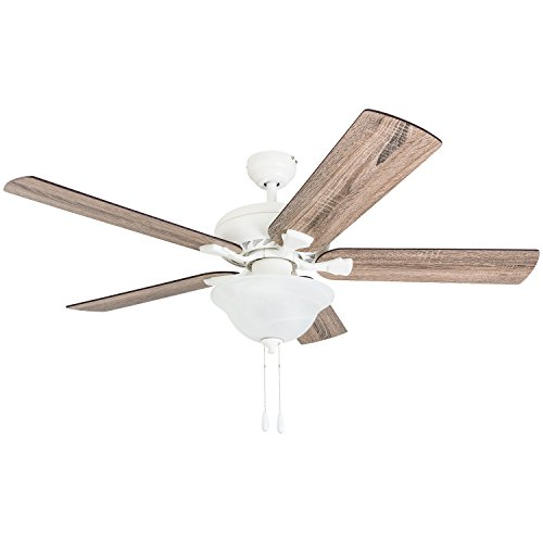 "Prominence Home 50779-01 Elm Creek Farmhouse Ceiling Fan (3 Speed Remote) 52"" Barnwood/Tumbleweed, Canary White"