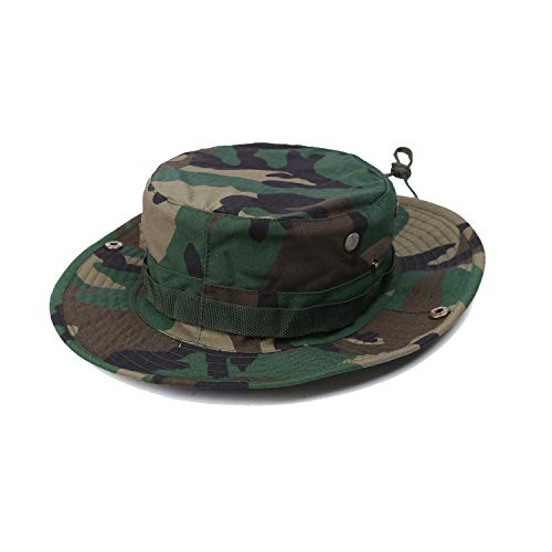 (WolfWarriorX Boonie Jungle Hat Military Tactical Ripstop Breathable Headwear Bucket Sun Hat with Chin Strap Brass Vents Wide Brim Camo Cap for Outdoor Hunting Fishing Safari (Woodland, L(-60cm)))