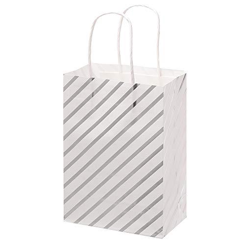 Zhualemon mnvxcbxv 6Pcs Kraft Paper Handbag Gift Bag Shop Loot Candy Package Multi Function Party Supplies(stripe,silver)