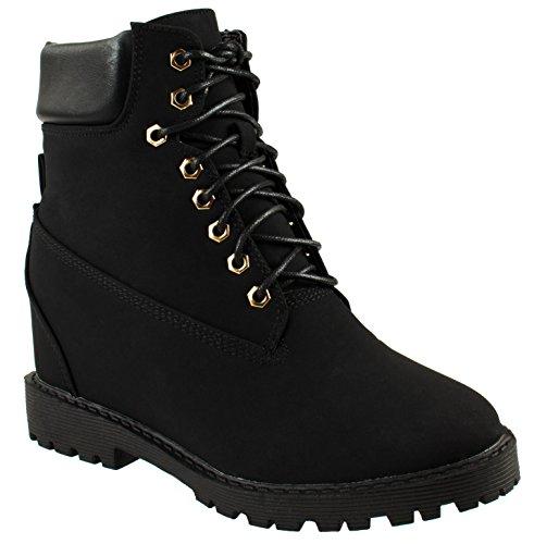 Bella Marie Women's Raven-10 Black Women's hidden heel boots 7.5 D(M) US 1.5' Platform Boots