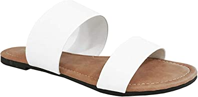 Womens Two Strap Sandal Slide On Flip Flop-Flat Sandals-Extra Comfortable-Cute
