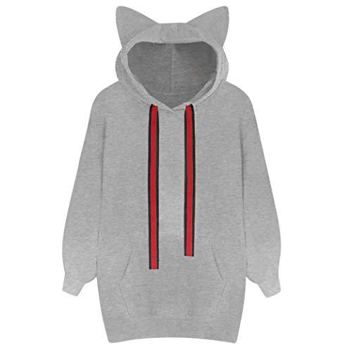 URIBAKE Womens Cat Long Sleeve Hoodie Sweatshirt Hooded Pullover Tops ()