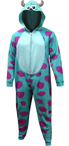 MJC Men's Disney Pixar Monsters Inc Sulley One Piece Hooded Pajama (Small/Medium) -