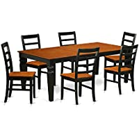 East West Furniture LGPF7-BCH-W 7 PC Dinette Set with One Logan Dining Table & Six Kitchen Chairs in black & Cherry Finish