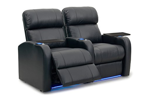 Octane Seating Diesel XS950 Theater Chairs Black Premium Leather - Power Recline - Memory Foam - Accessory Dock - Straight Row 2 Seats