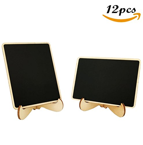 12pcs Mini Rectangle Wooden Chalkboards with Support for Message Board Signs Party Labels Weddings (Buffet Tags Name)