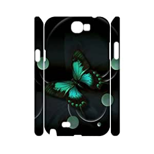 Customized Phone Case with Hard Shell Protection for Samsung Galaxy Note 2 N7100 3D case with flying Butterfly lxa#887663 by runtopwell