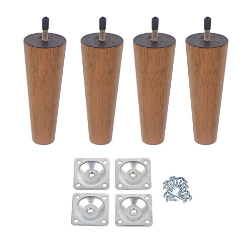 Action Club 6 inch Wood Furniture Legs Round Tapered Replacement Sofa Legs, Set of 4, Mid-Century Modern Perfect for Sofa, Bed,Coffee Table (6inch)