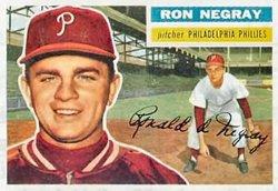 1956 Topps Regular (Baseball) Card# 7 Ron Negray of the Philadelphia Phillies VGX - Topps Baseball 1956