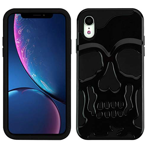 Protective Skull iPhone XR case Compatible with iPhone XR Skull Case Cover (Black) Black Skull Protector Case