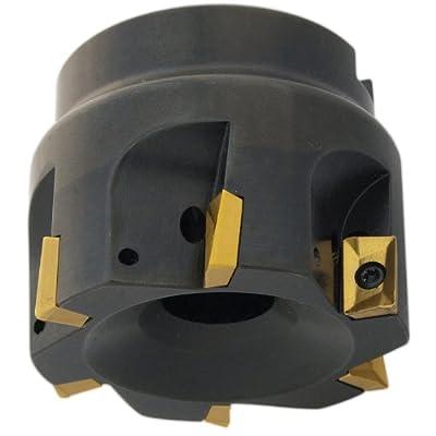 "Dorian Tool E90A Indexable Positive Face Mill Insert Holder, 5 Flutes, 90 Degree, 1-9/16"" Overall Length, 3/4"" Shank Diameter, 2"" Mill Diameter"