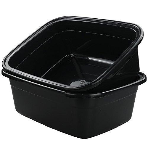 Idomy Rectangle Plastic Black Washing Basin/Tub, Pack of 2 (18 Quart)