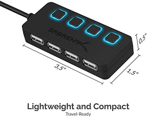 Sabrent 4-Port USB 2.0 Hub with Individual LED lit Power Switches (HB-UMLS)