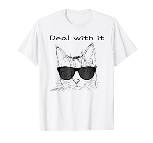 Deal With It Cool Cat With Sunglasses Graphic T-Shirt