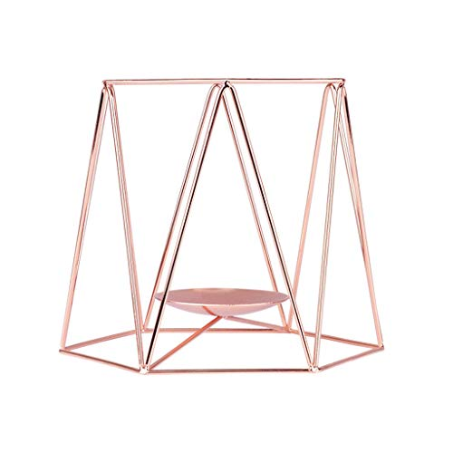(Longay Candle Holder Nordic Style Wrought Iron Geometric Candle Holders Home Decoration Metal Crafts (M, Rose Gold))