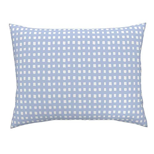 Roostery Blue Picnic Plaid Euro Knife Edge Pillow Sham Blue Summer Nursery Decor Crib Picnic Gingham Cornflower Perriwinkle Gracesutherland Nursery by Gracebrian 100% Cotton Sateen