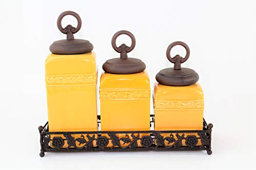 (3 Pc Mustard Square Plain Ceramic Canister Set w/Bronze Lids (FREE SALT & PEPPER) (Plain-Copper Ring, Flower Base))
